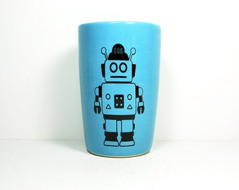 18oz tumbler with a Robot print shown here on Cloudless blue, made to order / pick your color
