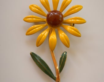 1960's Flower Brooch, Flower Power, Yellow and Brown brooch