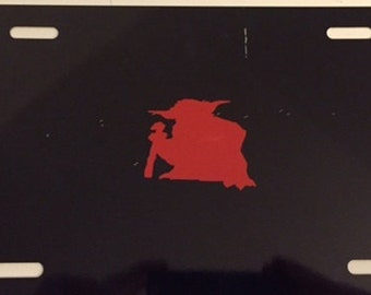 Yoda  Cool Design - Black with Red License Plate INSERT-  May the Force be with You