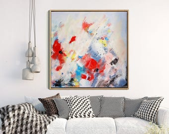 Abstract Painting, Giclee Print, Abstract flowers, Modern Wall art, Abstract Art Print,  Fine Art Print, Modern Art,  Red flower Abstract