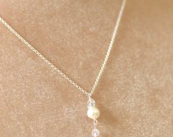 Pearl pendant necklace, bridesmaid necklace pearl, bridesmaid jewelry bridal, Swarovski necklace - Claudia