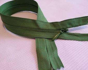 Olive zipper 25 cm INVISIBLE zip