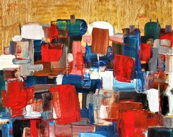 """Original Abstract Oil Painting by Nalan Laluk: """"At the Wall"""""""