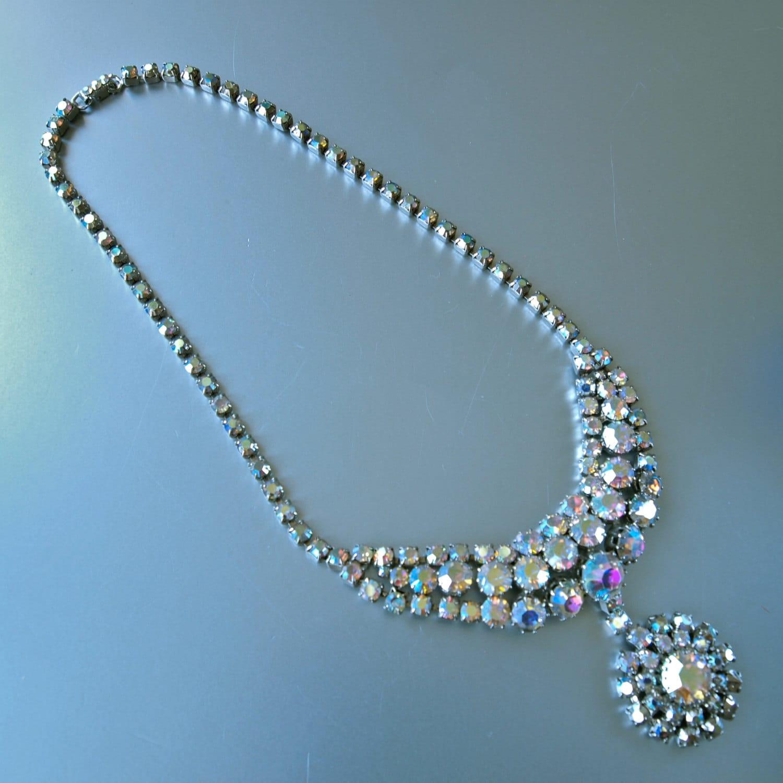 Czech Necklace 50\'s Bib Aurora Borealis Wedding Bridal