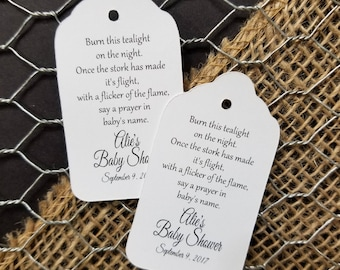 Burn this tealight on the night favor tag MEDIUM Tags Personalize with names and date Choose your Quantity MEDIUM