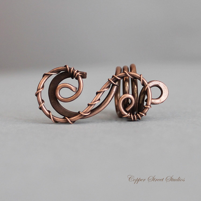 Antiqued Copper Braid Bead Wire Hair Bead Boho Dread Bead
