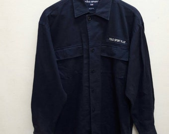 Vintage Polo Sport Ralph Lauren Marine Supply Shirt Long Sleeve work Wear