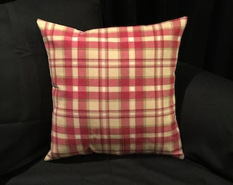 Cream & Red Plaid Print Pillow Covers