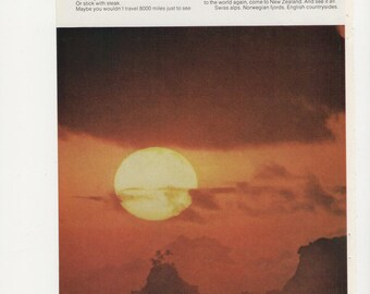 1970 Advertisement 2 Page American South Pacific Sunset Travel Tourism 70s Holiday Vacation Air Lines Samoa Wall Art Decor