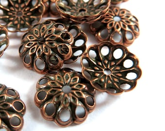 50 Copper Bead Caps Antique Brass Fancy 8mm - 50 pc - 3626-11