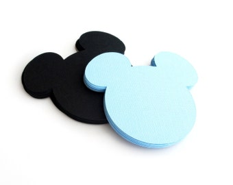 18 Mickey die cuts, Mickey Mouse die cut, (4 x3.75 inches), high quality cardstock, party die cuts, scrapbooking, Choose up 2 colors, A179
