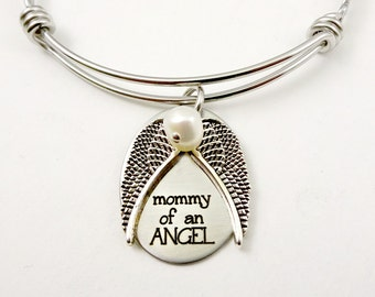 Mommy of An Angel - Remembrance Bangle Bracelet Necklace or Keychain  -   Baby Miscarriage Loved Ones Mom  Memorial Memento  Jewelry