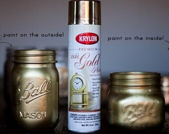 18 Karat Premium GOLD PLATE Metallic Finish Spray PAINT Aerosol Can 8 ounce 18 K 18K golden metal shiny shimmer Krylon 1000