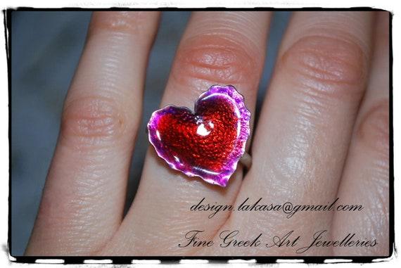 Ring Heart Red Enamel Sterling Silver Handmade Jewelry Fine Greek Art Best Gift Ideas for her Birthday Anniversary Valentine day Mother Love