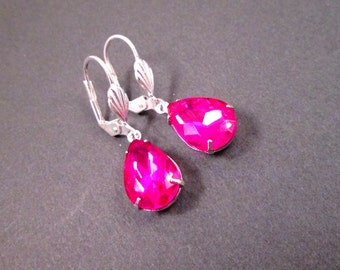Rhinestone Drop Earrings, Fuschia Pink Glass Stones, Silver Dangle Earrings, FREE Shipping U.S.