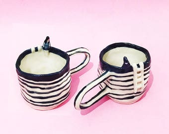 PREORDER Waiting Mug, Hand-Built Pottery Girl Mug, Waiting Tea Cup