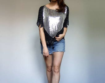 80s Sequin Top Womens Vintage Clothing Oversized Top Beaded Tshirt Tee Sequin Shirt - Small to Large S M L