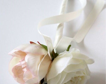 A lovely silk flower girl, bridesmaid wedding wand of pink blush peony and tea rose.
