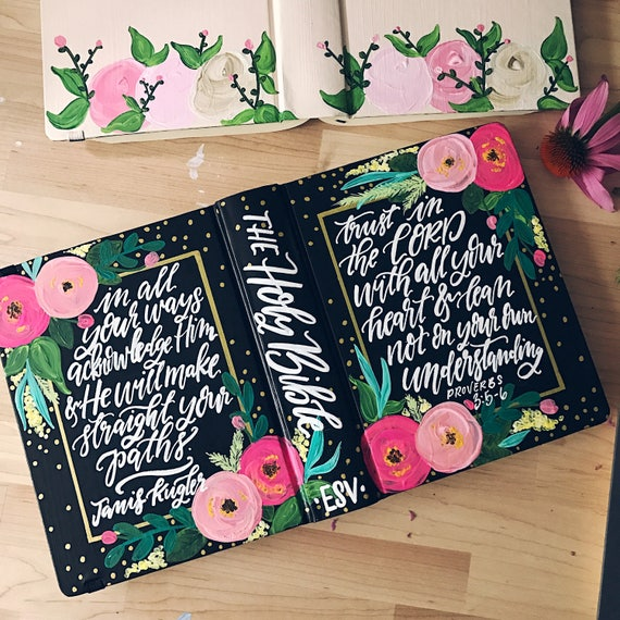 Hand painted bible, personalized Mother's day gift, custom bible art, scripture gift, bible journaling, gift for Christian, gift for wife