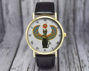 Vintage Egyptian God Bastet Watch | Cat Watch | Leather Watch | Ladies Watch | Men's Watch | Womens Watch | Gift Idea | Handmade Made Watch