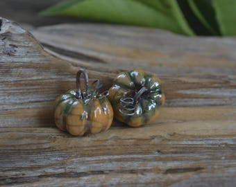 Heirloom Pumpkins-  Handmade Porcelain Raku Bead Pair
