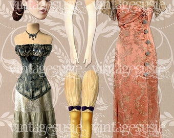 SYBIL Digital Paper Doll from DOWNTON ABBEY Vintage Edwardian Collage Sheet Digital Download
