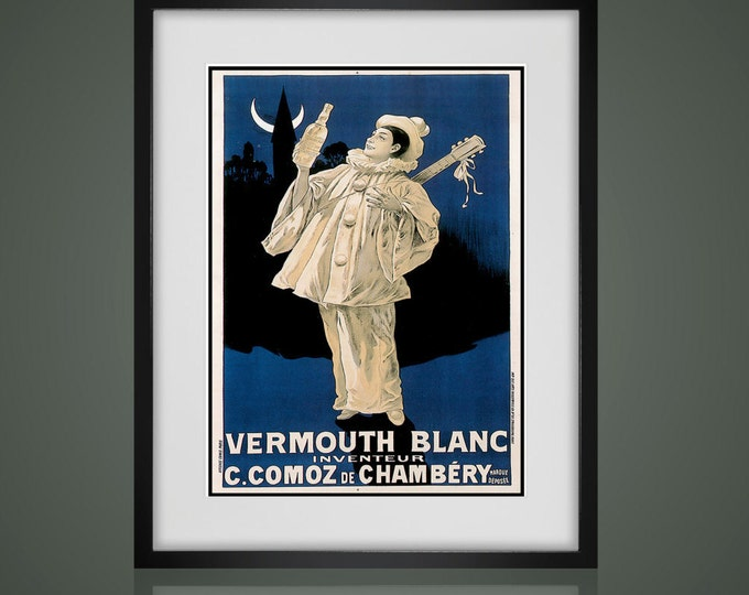 VINTAGE ADVERTISING POSTER -  Matted And Framed -  Choose Black Or  White Frames -  Available In 3 Sizes  - Make A Custom Gallery Wall