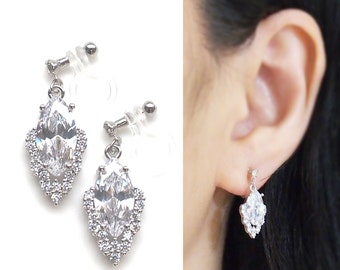bridal clip on earrings wedding cubic zirconia invisible clip