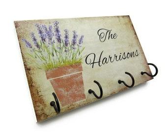 Lavender Plant Name Key Rack, Personalized Name Wall Key Holder, Wall Hooks for Keys, Custom Name Key Hook, Family Key Hook  (30)