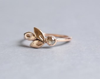 Rose Gold, Wedding Rings, Rose Gold Ring, Leaves Engagement Ring, Unique Engagement ring, Promise Ring, Rose Gold Wedding Ring, Wedding Band