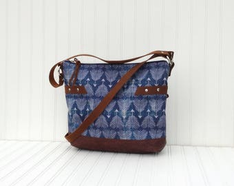 Indigo Canvas Large Tote, Crossbody Purse, Diaper Bag, Shoulder Bag, Slouch WithLeather