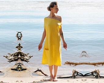 Linen dress, Yellow dress, festival dress, short summer dress, everyday shift dress, one shoulder minimalist dress ~Shaucha~
