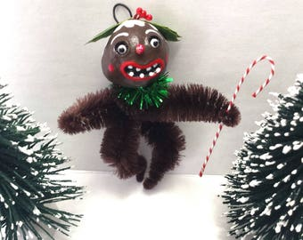 Vintage Style Folk Art Figgy Pudding Chenille Holiday Christmas Ornament