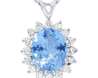 5.50CT Blue Topaz Diamond Pendant 14K White Gold