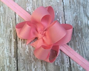 Pink Headband Pink Baby Headband Double Layered Infant Toddler Bowband Pink Baby Headband Pink Headband Baby Headband Pink Headband Bow