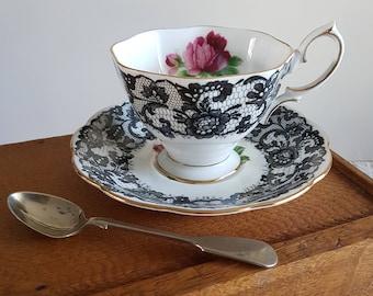 Royal Albert Senorita teacup & saucer // Spanish lace, black lace, pink roses, tea cup, footed teacup, left decal, English bone china