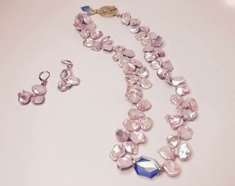 Keshi Pearls and Swarovski Necklace & Earrings