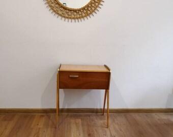 Vintage Nähkasten Teak Sewing basket on wheels side table mid century modern 60s Danish design modern vintage