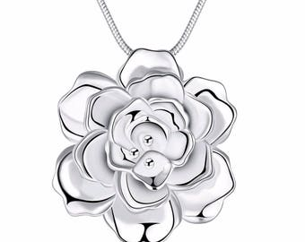 925 Sterling Silver Japan And South Korea Romantic Beautiful Women's Flowers Long Necklace