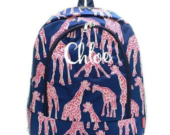 Monogrammed Backpack Personalized Giraffe Navy Backpack Personalized Backpack Kids Backpack Girls Backpack Boys Backpack