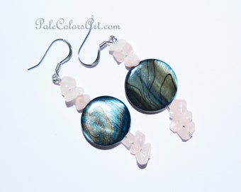 "1.75"" Abalone Shell Earrings,Paua Shell Earrings,Blue Abalone Earrings,Pink Quartz Earrings,Blue Paua Earrings,Pink Quartz Earrings,Shell"