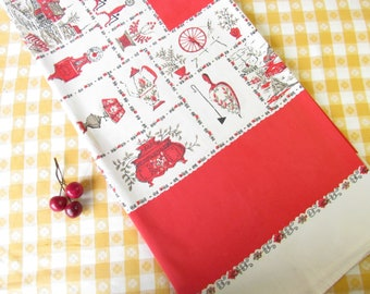 Vintage Printed Tablecloth - Red Border - 64 x 52 - Pristine - Cotton - Farm Life - Colonial Kitchen -Mid Century 1950's