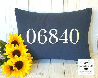 Embroidered NUMBER Pillow Cover. Zip Code. House Number. Save the Date. To fit a 12 x 16 Throw Pillow. Dorm Decor. First Home Gift.