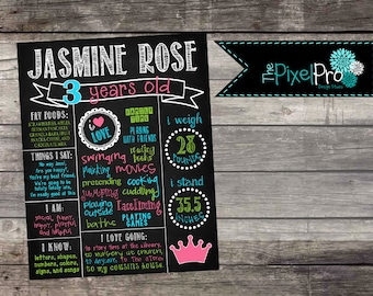 Birthday poster for girl, birthday stats sign, princess milestone printable, all about me chalkboard image, little girl stats home decor