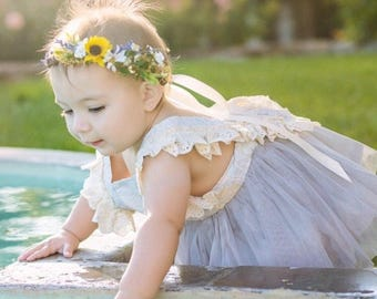 Sunflower & Lavender Flower Crown - Sunflower Halo - Rustic Flower Girl Crown - Sunflower and Lavender Halo - Photo Prop - Maternity Photos
