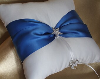 White or Cream Ring Bearer Pillow Beach Theme-with Royal Blue Satin Ribbon- Rhinestone Starfish Embellishment-Custom Ribbon Colors