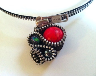 Red Turquoise Zipper Necklace