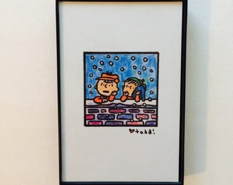 A Charlie Brown Christmas, Print, 4 x 6 inches, Linus and Charlie Brown, Art, Wall, Crayon, Movies, Gift, Schulz, Pop Culture