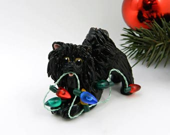 Pomeranian Black Christmas Ornament Figurine Lights Porcelain