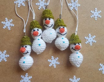 Christmas ornament snowman christmas party favors winter party favor crochet snowman keychain decorations christmas gifts for coworkers